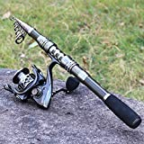 Sougayilang Fishing Rod Combos with Telescopic Fishing Pole Spinning Reels Fishing Carrier Bag for Travel Saltwater Freshwater Fishing-2.4M/7.87FT