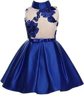 GFDGG 女の子のドレスプリントpettiskirtドレス子供服弓王女のドレス (色 : 青, サイズ : 130cm)