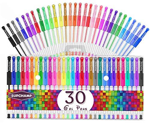 Supchamp Bolígrafos de Gel, 30 Bolígrafos de Gel de Colores para Niños, Incluyendo Metálico, Pastel, Clásico, Brillo, Fluorescente para Colorear Dibujo Doodling Crafts Journaling