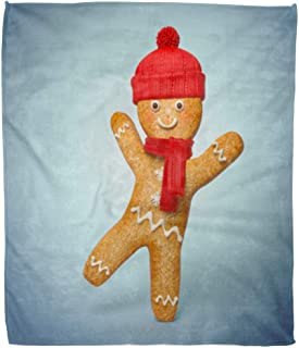 Golee Throw Blanket Active Gingerbread Man 3D Cookie Cartoon Character Wearing Knitted Scarf 60x80 Inches Warm Fuzzy Soft Blanket for Bed Sofa