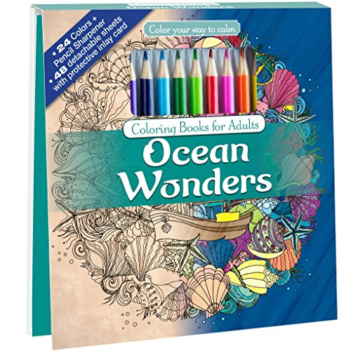 Price comparison product image Ocean Wonders Adult Coloring Book Set With 24 Colored Pencils And Pencil Sharpener Included: Color Your Way To Calm