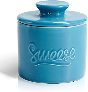 Sweese 304.107 Porcelain Butter Keeper Crock - French Butter Dish - No More Hard Butter - Perfect Spreadable Consistency, Steel Blue
