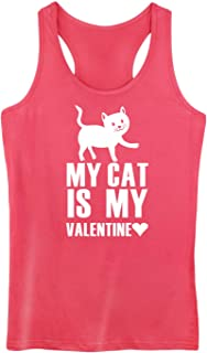 GROWYI Funny Workout Tank Tops Racerback for Women My Cat is My Valentine Animal Graphic Fitness Gym Sleeveless Shirts