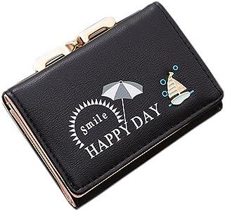 可愛い財布 レディース ミニ がま口付き 三つ折り ヨット ビーチ レース付き ウォレット かわいい 多機能 カード入れ 小銭入れ 写真入れ 大容量 コンパクト 軽量 ボタン 開閉 多収納 おしゃれ 大容量収納 灰色 黒色