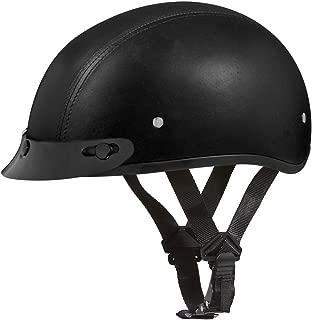 Daytona Helmets Motorcycle Half Helmet Skull Cap- Leather Covered 100% DOT Approved
