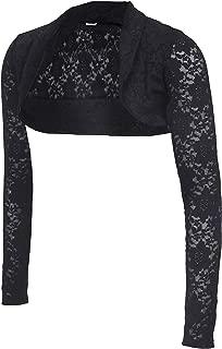 Lace Shrugs for Women Open Front Sheer Long Sleeve Bolero Cropped Cardigan