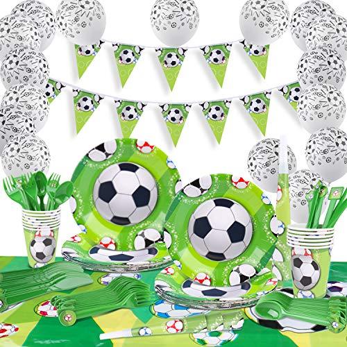 GVOO Fiesta Fútbol,Vajilla Fiesta Fútbol,120 Piezas Artículos Fiestas Cubierto para Cumpleaños Incluye Trompeta, Globos, Mantel, Cucharas,Tenedores,Cuchillos, Platos, Vasos, Pancarta para 18 Invitados