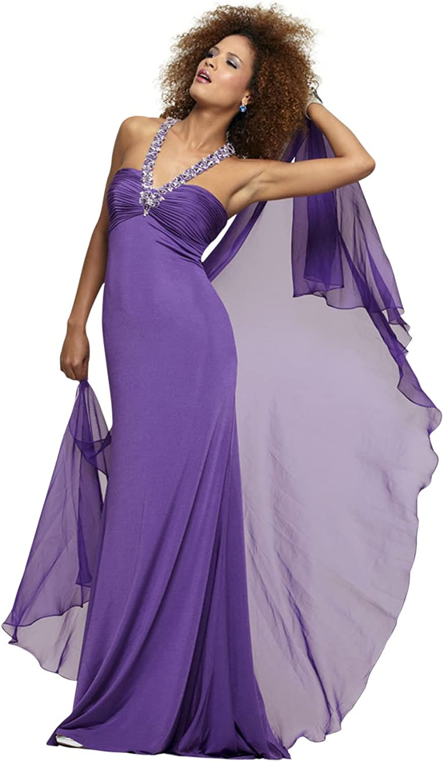 Clarisse Beaded Halter Fitted Jersey Prom Dress 2173