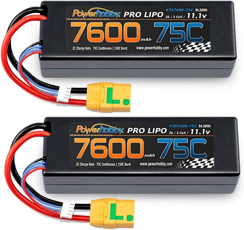 Powerhobby 3s 11.1v 送料無料激安祭 7600mah 75c Lipo ブランド買うならブランドオフ XT90 Battery w Hard Ca Plug