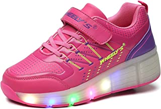 BY0NE Girls Boys Led Light Sneakers Shoes with Wheel,Kids Roller Skate Shoes