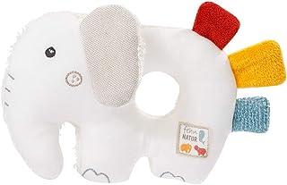 Fehn 056075 Ring-Greifling Elefant fehnNATUR – Bio-Babyspielzeug mit Rassel und Raschelpapier für Babys und Kleinkinder ab 0 Monaten – Größe: 14 cm