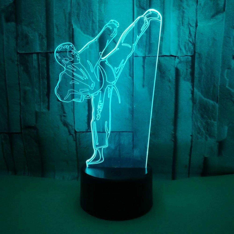 YANQIMAOYI Schlafzimmer Beleuchtung Decor Kreative 3D LED Vision Gradienten Karate Tischlampe USB Taekwondo Modellierung Nachtlichter Für Geschenke Kinder