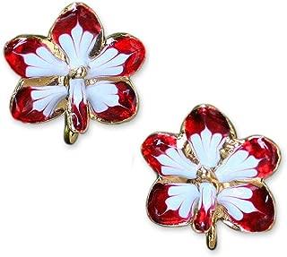 NOVICA 24k Yellow Gold-Plated Handmade Natural Orchid Post Earrings, Timeless Dancer'