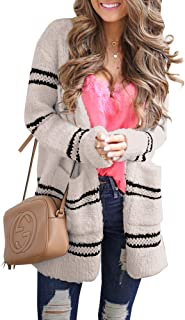 Jiangyinga Womens Open Front Striped Cardigan Sweaters Fuzzy Knitted Pocket Loose Fitted Outwear
