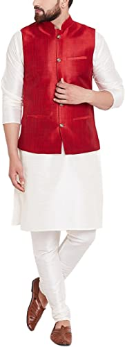 Royal Sojanya Hommes's Dupion Silk Designer Nehru veste XX-grand Mahroon
