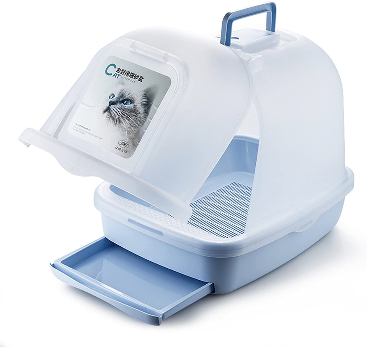 LUOER Cat Litter Box Kit with Handle and Double Drawer Easy to Scoop bluee