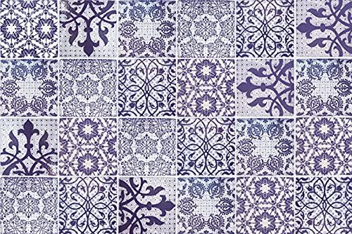 ZONITOK - Adhesivos decorativos para azulejos de estilo marroquí, 24 unidades, desprendibles y pegados, impermeables, para pared de baño, cocina, muebles y escaleras
