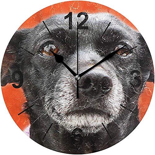 L.Fenn wandklok ronde witte hondjes dier leuke hond diameter Silent Decoratief voor thuis kantoor keuken slaapkamer