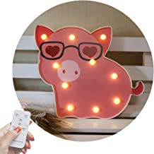 Obrecis LED Pig Marquee Signs, Animal Night Lights with Remote Timer Dimmable Pig Decor..