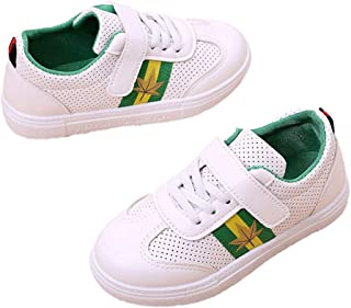 Hopscotch Boys PU Leaf Print Velcro and Fixed Lace Sneakers in Green Color