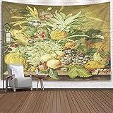 N\A Tapiz Decorativo, Estilo Popular Bodegón Fruta Pintura Holandesa Panel al óleo Arreglo Rico Varias Frutas Verduras Flores Tapiz de Dormitorio Tapiz de Sala de Estar Decoración de Pared