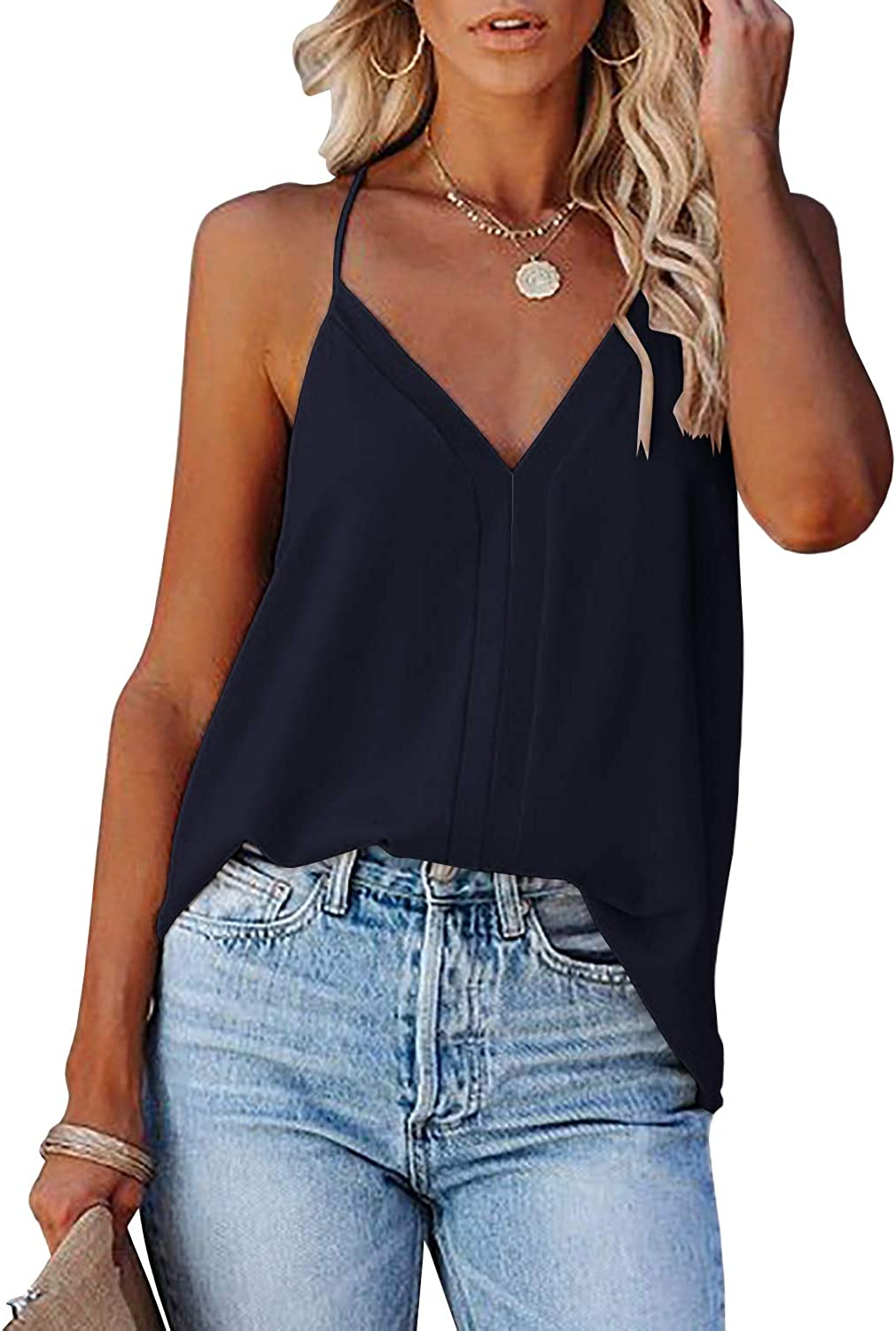 Coutgo Womens V Neck Cami Tops Sleeveless Shirts with Adjustable Spaghetti Strap Racerback Blouses