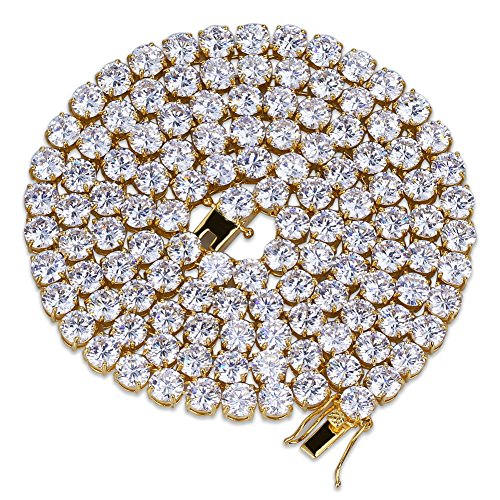 JINAO 18k Gold Plated 1 Row 6MM Lab Simulated Diamond Iced Out CZ Chain Men's Hiphop Tennis Necklace Chain