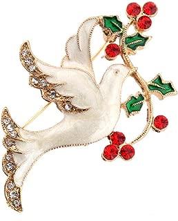RATU Christmas Peace Dove Rhinestones Brooch Decorative Scarves Pin for Women(White)