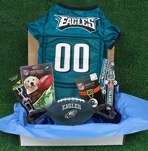 NFL Philadelphia Eagles PET GIFT BOX with 2 Licensed DOG TOYS, 1 Logo-engraved NATURAL DOG TREAT, 1 NFL JERSEY, 1 NFL Puppy Training Bells & 1 Car Seatbelt