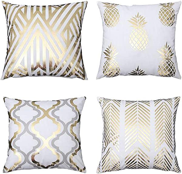 Gooday Throw Pillow Covers Set Of 4 New Bronzing Gold Velvet Soft Geometric Decorative Cushion Pillow Cases For Home Sofa Bed Couch18 X 18 Inches