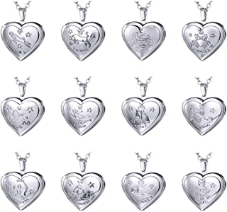 Teen Girls Heart Locket Necklace with Zodiac Sign Platinum or 18K Gold Plated 12 Horoscope Jewelry Pendant Birthday Gift Constellation Necklaces, Gift Box & Free Text Engrave Back Side