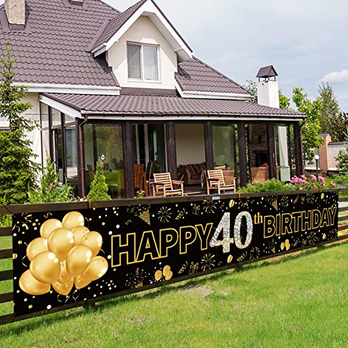 Pimvimcim 40th Birthday Party Banner Decorations for Men & Women, Black Gold 40 Year Old Birthday Party Backdrop Supplies, Happy Forty Birthday Sign Decor(9.8x1.6ft)