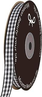 Micomon Black Gingham Plaid Checked Ribbon 25 Yard Each Roll 100% Polyester (3/8