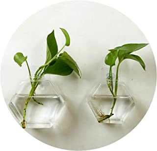 Paramise-vases Home Living Room Decor Glass Wall Hanging Plant Flower Glass Vase Container Wall Fish Tank Aquarium Decor Container,12cm x 13cm