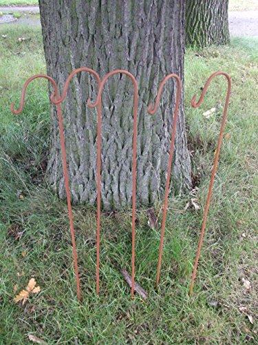 Deko-Impression 5 Stück (5er-Set) Gartenstab mit Haken, Laternenhaken, Eisen, Rost