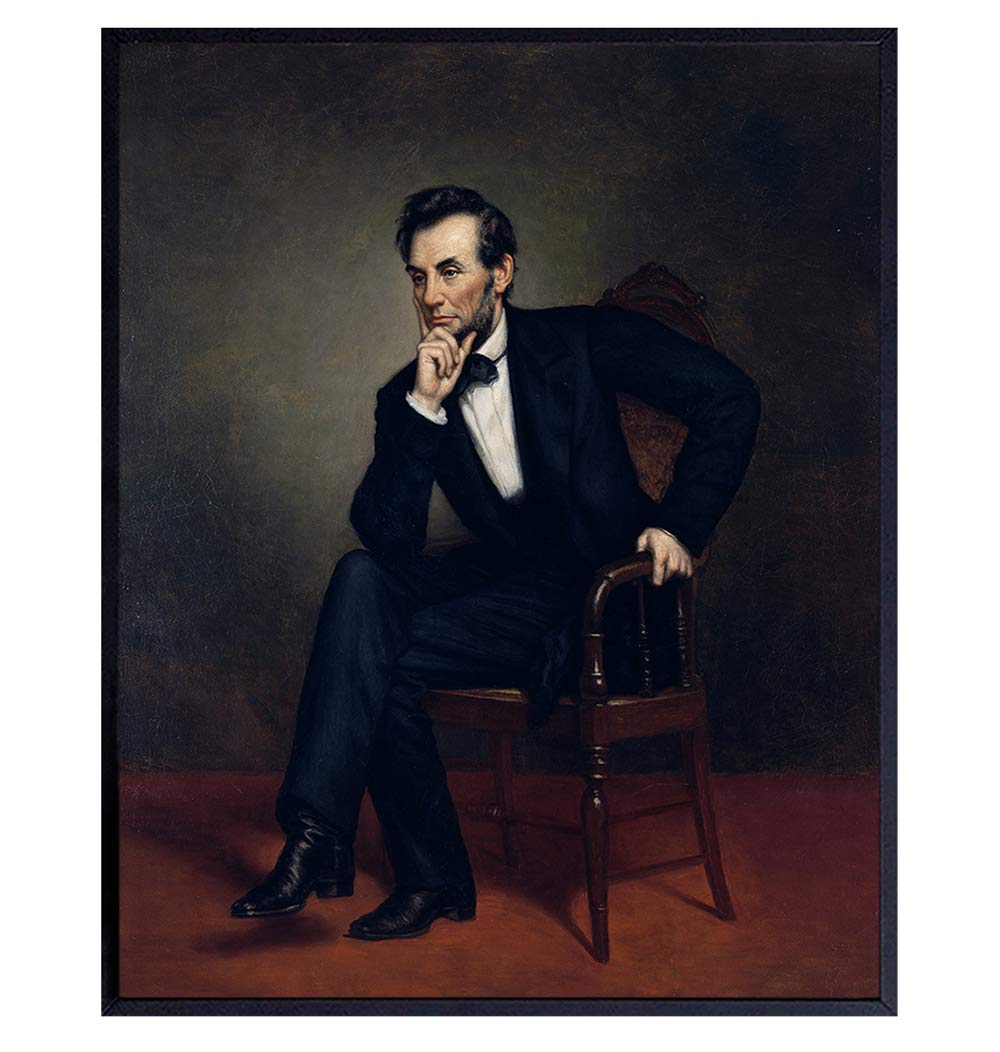Abraham Lincoln Poster - 8x10 Abe Lincoln Wall Art Decor - Abraham Lincoln Gifts - Patriotic Wall Decor for Home or Office - Unique Gift for Republicans, Conservatives, Democrats, Liberals