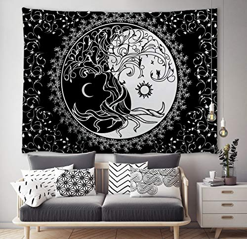"ORTIGIA Trippy Sun and Moon Tapestries Bohemian Hippie Black and White Tapestry psychedelic Yin Yang Wall Art Tree of Life Wall Hanging blanket Bedspread Table Cloth for Bedroom Dorm 60"" W x 51""L"
