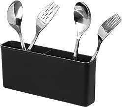 SANNO Plastic Black Utensil Silverware Storage Holder Caddy,Fit Kitchen Sink Drying Rack, Microfiber Dish Mat, Dish Drying Mat
