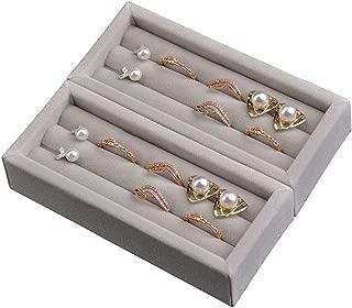 DesignSter Partner of Rotating Earring Trays - Set of 2 Premium Velvet Rings Earrings Display Holder for Drawer, Dresser