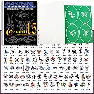 Master Airbrush Brand Airbrush Tattoo Stencils Set Book #15 Reuseable Tattoo Template Set, Book Contains 102 Unique Stencil Designs, All Patterns Come on Vinyl Sheets with a Self Adhesive Backing.