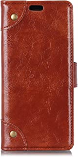 Pokaas OPPO AX7 ケース カバー 手帳型 財布型 高級PUレザー カード収納 マグネット式 マグネット式ボタン 横置きスタンド機能付き 耐衝撃 耐汚れ 防水 防塵 全面保護 ビジネス風 (OPPO AX7, ブラウン)