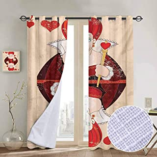 Kresdy Direct Alice in Wonderland Wear-Resistant Color Curtain Queen Cards Playing Alice Character in Fictional Fairy Tale Print 2 Panel Sets W55 x L72 Inch Red Brown Ecru