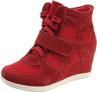 Women's Formal Wedge Hidden Heel Hook-Loop Suede Leather Fashion Sneakers