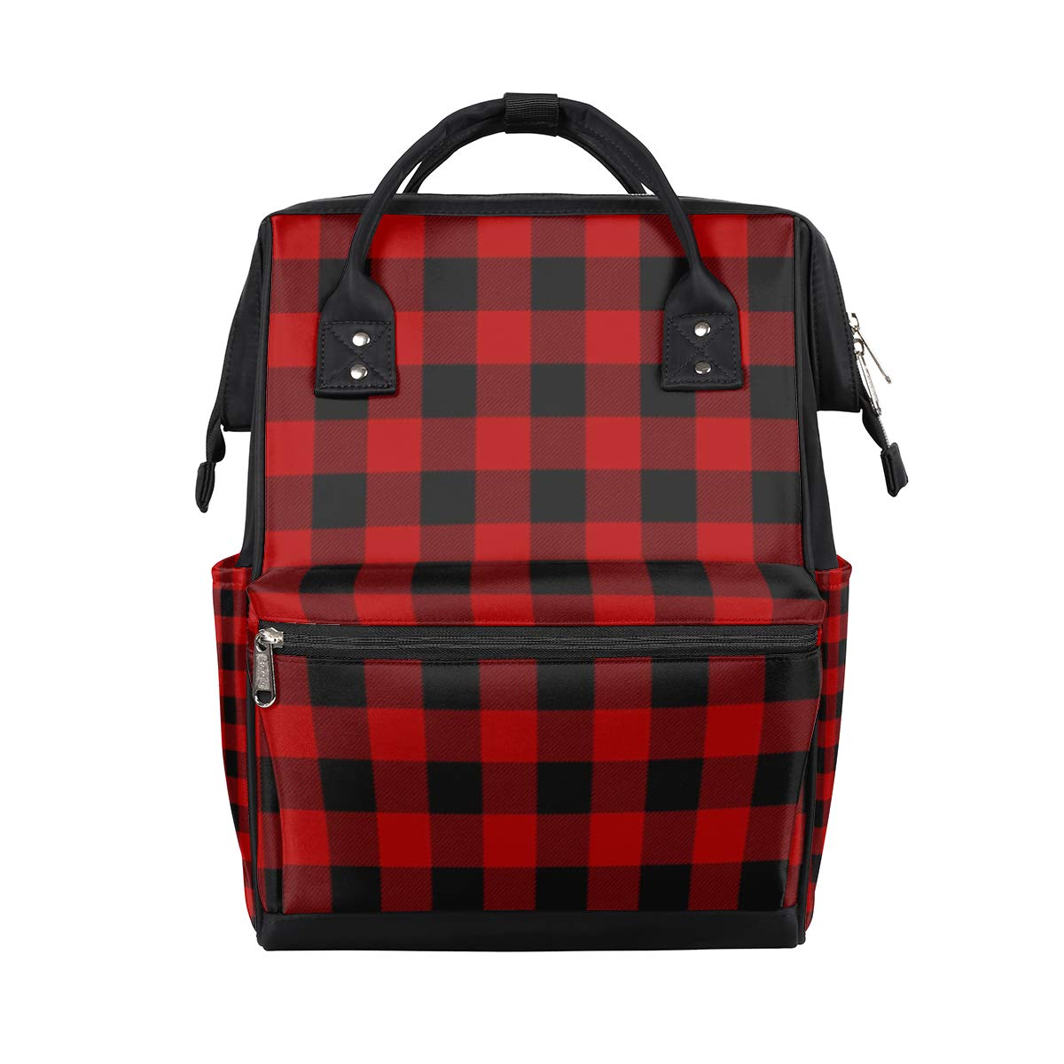TropicalLife Red Lumberjack Plaid Diaper Backpack Large Capacity Baby Bags Multi-Function Zipper Casual Travel Backpacks for Mom Dad Unisex