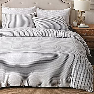 PURE ERA Cotton Jersey Knit Duvet Cover Set 1 Comforter Cover and 2 Pillow Shams Soft Comfortable White and Black Stripes Queen Size