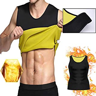 TAOHOU Sleeveless Slimming Belly Men Vest Body Shaper Abdomen Fat Burning Shaperwear 5XL Black & Yellow