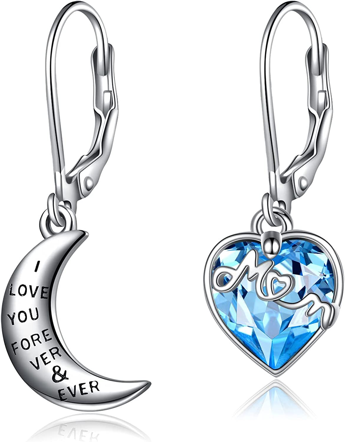 YAFEINI Earrings for Mom I Love You Forever and Ever Cresent Crystal Heart Earrings Gifts to Mom from Daughter