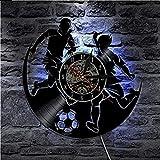 FUTIIF Vinyle Football Sports Jeux Garçons Chambre Horloge Murale Disque Vinyle Horloge Murale Joueur De Football Décoration De La Maison 30X30Cm avec LED
