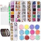 Kits de decoración de uñas para manicura de arte de bricolaje de 37 piezas, incluyendo cepillos de clavos de lápiz de nail Powders Nail Art Strips Nail Art Foils Nail Art Gems Nail Art Glitters