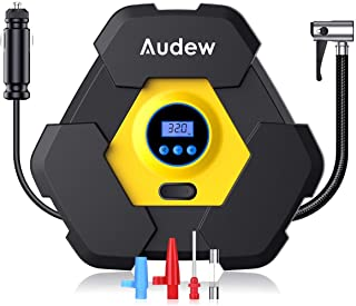 AUDEW Portable Air Compressor Tire Inflator with Gauge, Auto Digital Air Pump For Car Tires with Extra LED Light , DC 12V 150 PSI Tire Pump for Car,Bicycle,Motorcycle,Basketball,Pool Toys